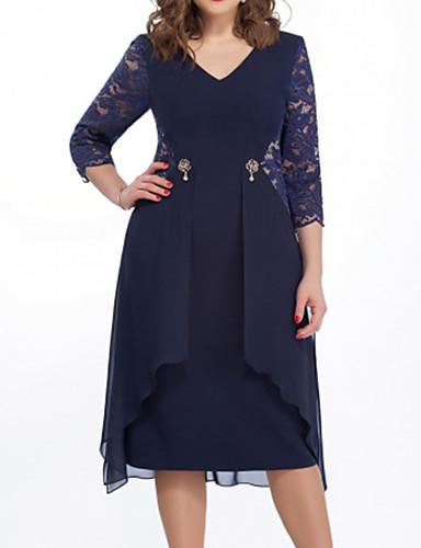 povoljno Pretprodaja-Žene Elegantno A kroj Haljina - Čipka, Jednobojni Do koljena