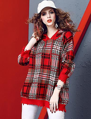 abordables Hauts pour Femmes-Femme Bloc de Couleur Manches Longues Pullover, Col Arrondi Automne / Hiver Rouge M / L / XL