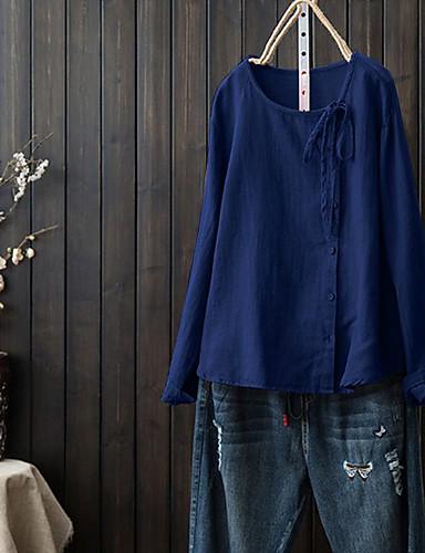 billige Topper til damer-Skjorte Dame - Ensfarget, Blondér Grunnleggende / Chinoiserie Svart