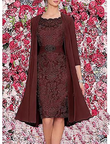 hesapli Kadın Elbiseleri-Kadın's Zarif İki Parça Elbise - Solid Diz-boyu