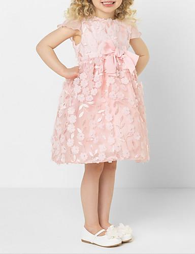 Djeca Djevojčice slatko Jednobojni Čipka Bez rukávů Do koljena Haljina Blushing Pink / Pamuk