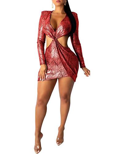 abordables Robes Femme-Femme Basique Elégant Mini Moulante Gaine Robe - Imprimé, Couleur Pleine Géométrique Fuchsia Orange Vert S M L Manches Longues