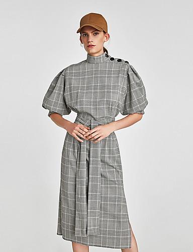 abordables Robes Femme-Femme Rétro Vintage Chinoiserie Midi Chemise Robe - Mosaïque Imprimé, Bloc de Couleur Damier Noir S M L Demi Manches