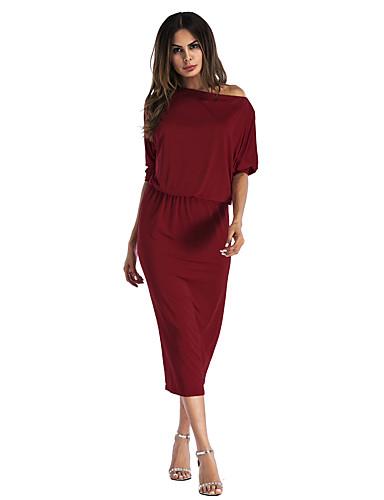 abordables Robes Femme-Femme Elégant Midi Balançoire Robe Couleur Pleine Noir Vin Jaune S M L Demi Manches