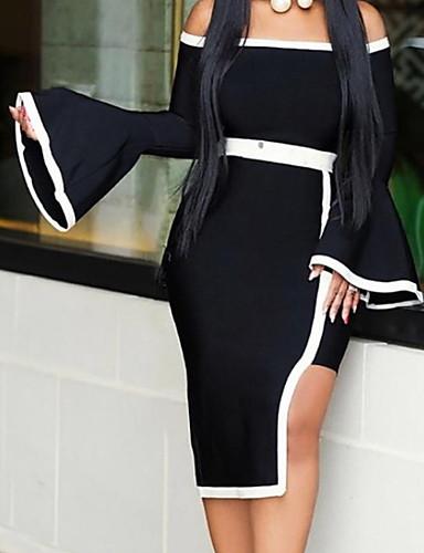 billige Kjoler-Dame Skjede Kjole - Fargeblokk Asymmetrisk