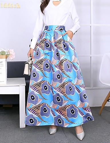 abordables Jupes-Femme Bohème Balançoire Jupes - Fleur Imprimé Bleu S M L