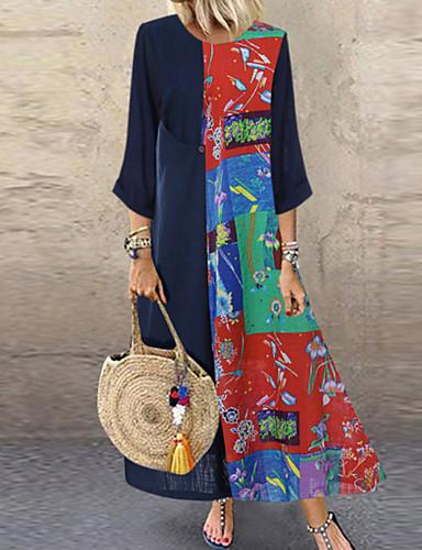 hesapli Vintage Kraliçesi-Kadın's Vintage Kılıf Elbise - Geometrik Maksi