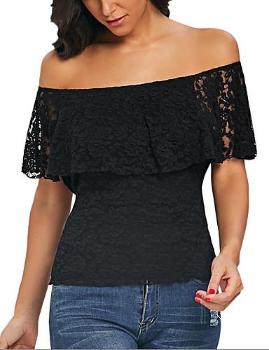 abordables Hauts pour Femmes-Tee-shirt Femme, Couleur Pleine Dentelle Rock Noir