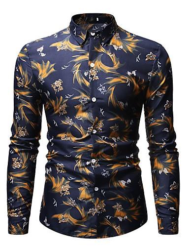 Erkek Gömlek Desen, Çiçekli Temel / Zarif Koyu Mavi