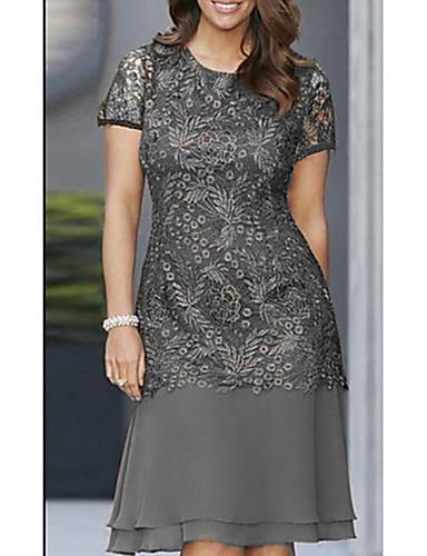 hesapli Kadın Elbiseleri-Kadın's Temel Kombinezon Kılıf Elbise - Çiçekli, Şalter Diz-boyu