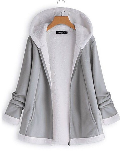 cheap Women's Jackets-Women's Daily Winter Regular Jacket, Solid Colored Hooded Long Sleeve Polyester Gray / Wine / Khaki