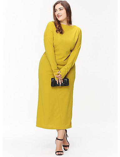 voordelige Grote maten jurken-Dames Standaard Recht Jurk - Effen, Patchwork Midi