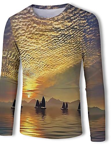 voordelige Heren T-shirts & tanktops-Heren Standaard Print T-shirt dier Geel