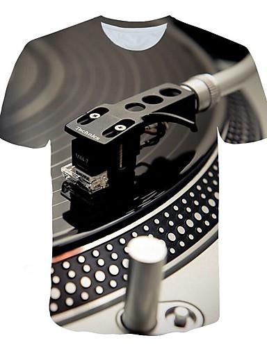 voordelige Heren T-shirts & tanktops-Heren overdreven Print Grote maten - T-shirt 3D Ronde hals Lichtgrijs / Korte mouw