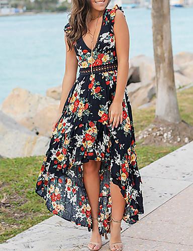 Kadın's Sokak Şıklığı A Şekilli Elbise - Çiçekli, Dantel Kırk Yama Asimetrik