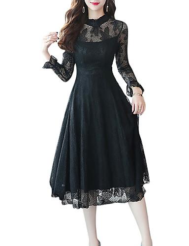 Kadın's Temel A Şekilli Elbise - Solid Midi