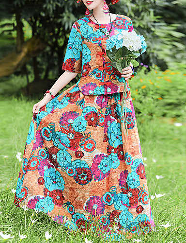 Kadın's Zarif Çan Elbise - Çiçekli, Bağcık Kırk Yama Desen Maksi