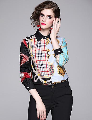 povoljno Ženske majice-Majica Žene - Elegantno Dnevno / Kauzalni Geometrijski oblici Kolaž / Print Sive boje