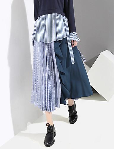 abordables Pantalons et Jupes Femme-Femme Chic & Moderne Balançoire Jupes - Rayé Bloc de Couleur Plissé / Mosaïque Noir Bleu Taille unique