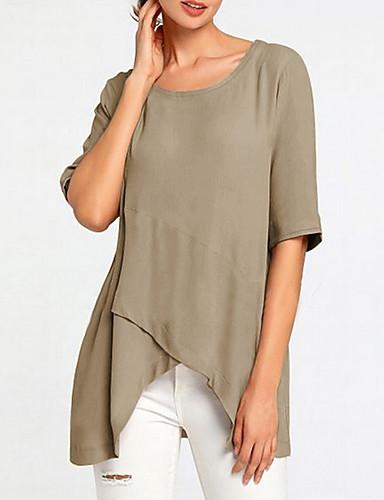 billige Dametopper-T-skjorte Dame - Ensfarget Vintage Svart