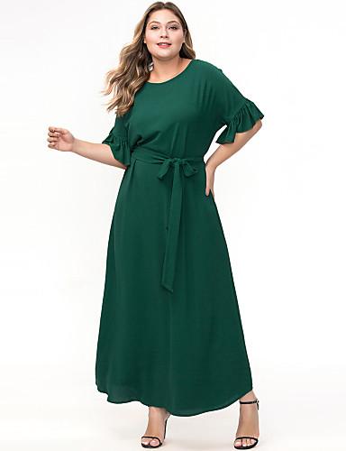 voordelige Grote maten jurken-Dames Elegant Abaya Jurk - Effen, Ruche Veters Maxi