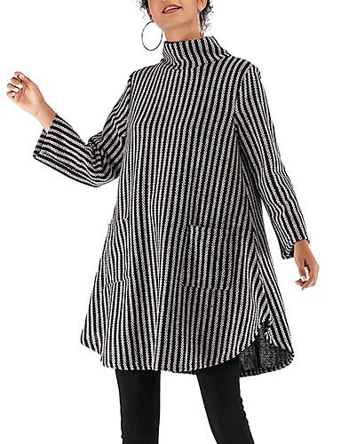 abordables Robes Femme-Femme Au dessus du genou Gaine Tricot Robe Rayé Noir Gris Clair M L XL Manches Longues
