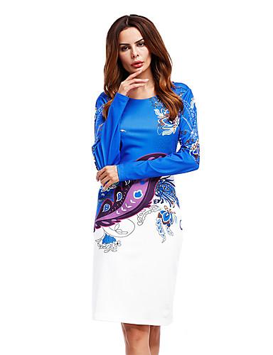 abordables Robes Femme-Femme Elégant Au dessus du genou Trapèze Robe - Imprimé, Pied-de-poule Rose Claire Bleu Rouge XS S M Manches Longues