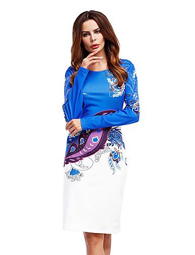 abordables Robes Femme-Femme Elégant Mi-long Trapèze Robe - Mosaïque Imprimé, Bloc de Couleur Pied-de-poule Rose Claire Bleu Rouge XS S M Manches Longues