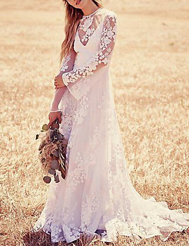 abordables Robes de Mariée 2019-Trapèze Bijoux Traîne Brosse Dentelle Robes de mariée sur mesure avec Appliques par LAN TING Express