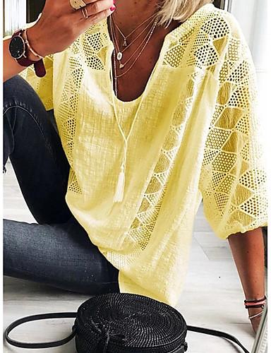 billige Topper til damer-T-skjorte Dame - Ensfarget, Blonde / Lace Trim Elegant Lyseblå