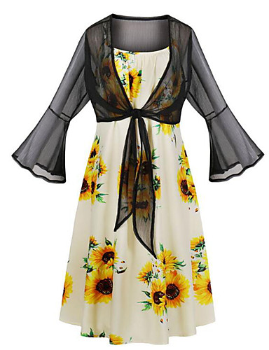 billige Kjoler-Dame Gatemote Elegant Swing Kjole - Blomstret, Trykt mønster Knelang Solblomst