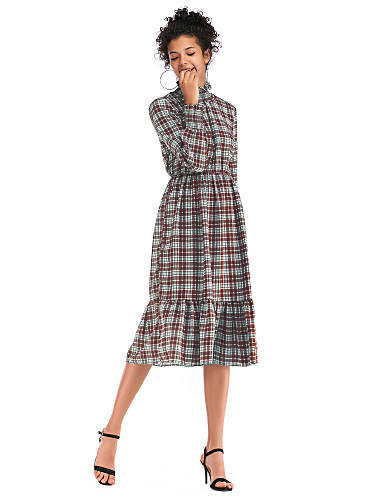abordables Robes Femme-Femme Basique Chic de Rue Midi Mousseline de Soie Robe - Imprimé, Tartan Rouge Vert M L XL Manches Longues