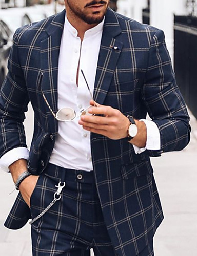 cheap 8/14-Men's Suits, Plaid Notch Lapel Polyester Blue US36 / UK36 / EU44 / US38 / UK38 / EU46 / US40 / UK40 / EU48