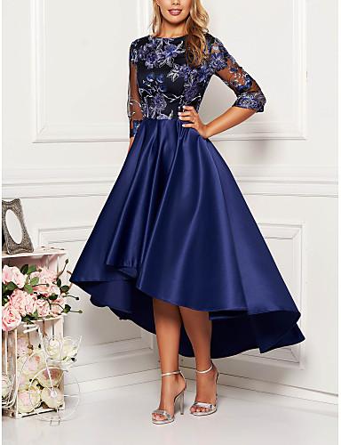 abordables Robes Femme-Femme Chic de Rue Midi Balançoire Robe - Imprimé, Géométrique Bleu Marine M L XL Demi Manches