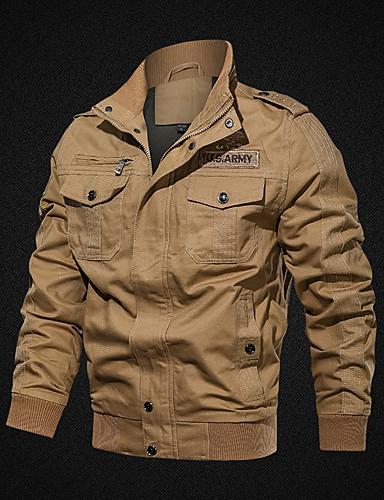 Erkek Günlük / Dışarı Çıkma Temel İlkbahar & Kış / Sonbahar Kış Normal Ceketler, Solid Dik Yaka Uzun Kollu Pamuklu Nakış Siyah / Ordu Yeşili / Haki US34 / UK34 / EU42 / US36 / UK36 / EU44 / US38