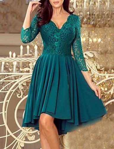 Žene Elegantno Čipka A kroj Čipka Swing kroj Haljina - Čipka, Cvjetnih V izrez Do koljena