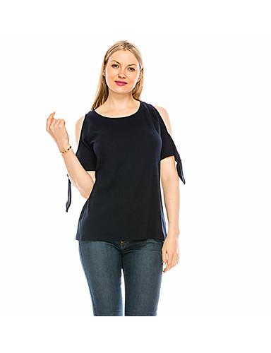 Kadın's Tişört Bağcık, Solid Çin Stili / Zarif Mavi Navy Mavi