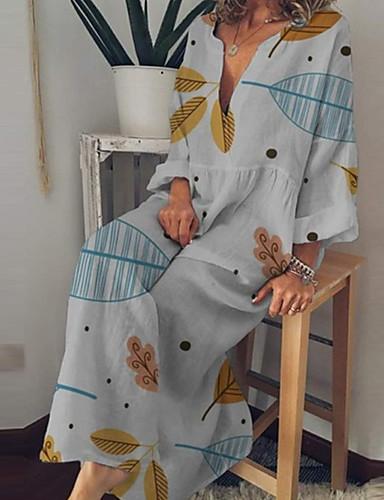 abordables Robes Femme-Femme Bohème Maxi Courte Robe - Imprimé, Abstrait Feuille tropicale Bleu clair Blanche Rose Claire S M L Manches Longues