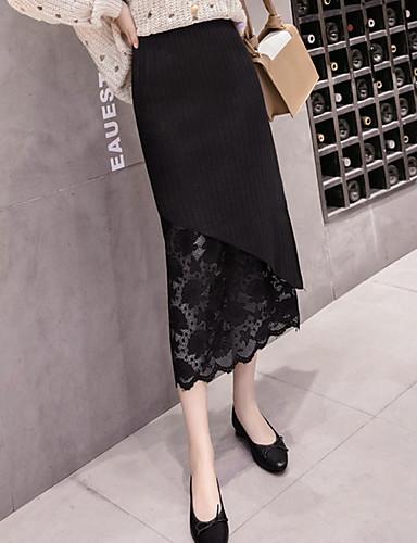 abordables Jupes-Femme Chic & Moderne Crochet Jupes - Couleur Pleine Mosaïque Dentelle / Tricoté Noir Marron Beige S M L