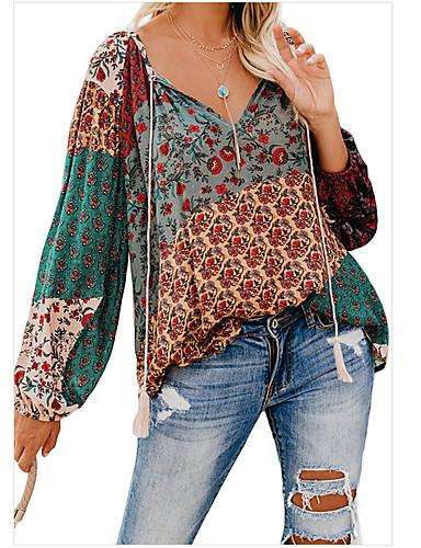 billige Topper til damer-Skjorte Dame - Geometrisk, Blondér Bohem Svart Svart