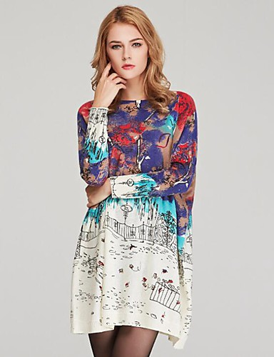 billige Dametopper-Dame Geometrisk / Fargeblokk / Abstrakt Langermet Pullover, Løse skuldre Hvit / Brun / Grå En Størrelse