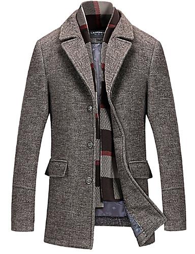 voordelige Herenjacks & jassen-Heren Dagelijks Standaard Winter Normaal Trenchcoat, Ruitjes V-hals Lange mouw Spandex Grijs / Khaki