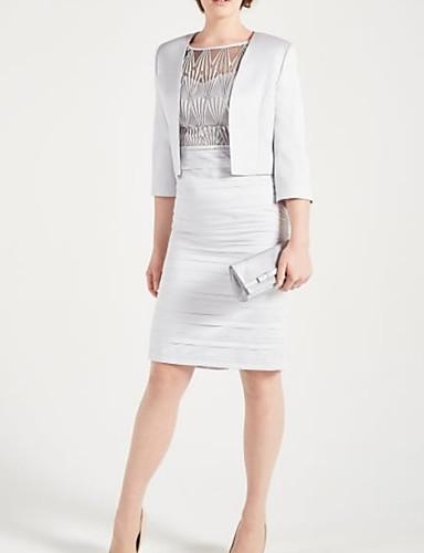 voordelige Wrap Dresses-Tweedelig Met sieraad Tot de knie Satijn Bruidsmoederjurken met Ruches door LAN TING Express / Wrap inbegrepen