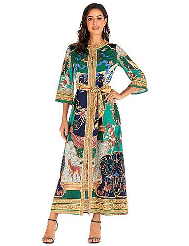 voordelige Maxi-jurken-Dames Standaard Abaya Kaftan Jurk - Geometrisch, Veters Print Maxi