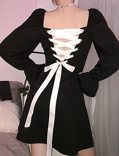 abordables Robes Femme-Femme Asymétrique Trapèze Robe Couleur Pleine Noir S M L Manches Longues