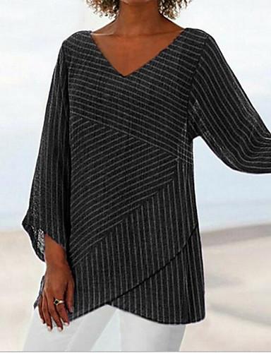 billige Dametopper-T-skjorte Dame - Stripet Svart