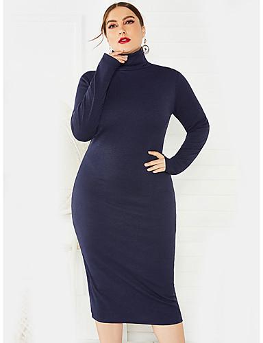 abordables Robes Femme-Femme Basique Elégant Mi-long Gaine Robe Couleur Pleine Noir Vin Vert XL XXL XXXL Manches Longues
