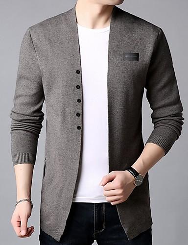 cheap 10/15-Men's Solid Colored Long Sleeve Cardigan, Stand Black / Camel US32 / UK32 / EU40 / US34 / UK34 / EU42 / US36 / UK36 / EU44