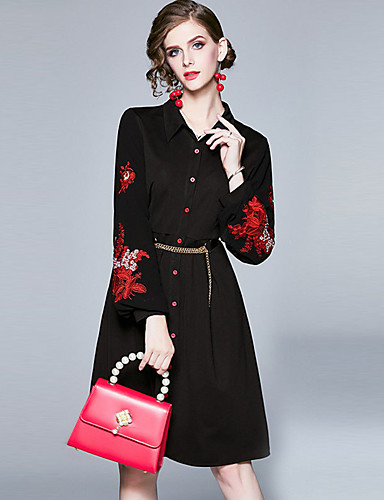 billige Vintagedronning-Dame Vintage Chinoiserie Skjede Skjorte Kjole - Ensfarget, Lapper Broderi Snorer Knelang Svart