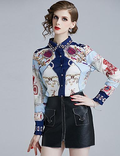 billige Dametopper-Skjorte Dame - Geometrisk, Trykt mønster Bohem BLå & Hvit Hvit